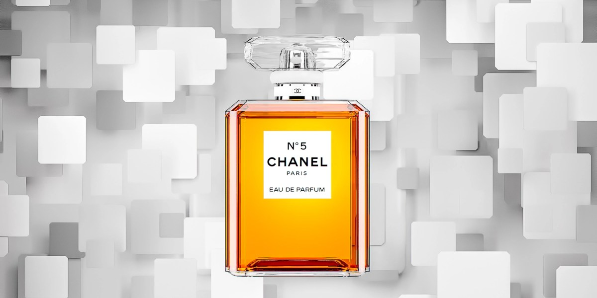 Chanel No 5 Perfume with blocks falling