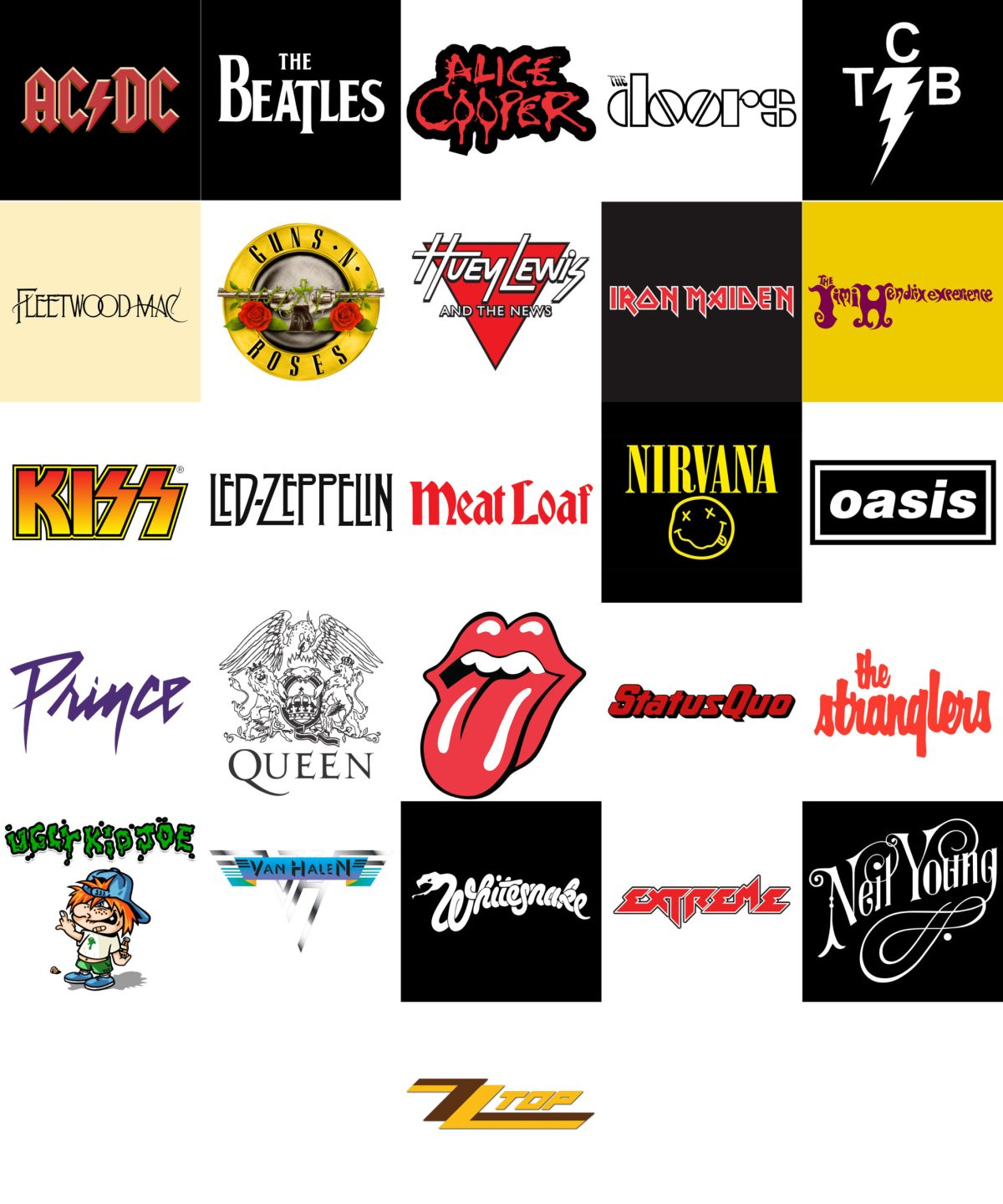 Grid of band logos used in the Bands quiz
