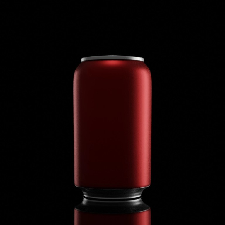 Simple CGI image of a red can to evoke the Coca Cola brand