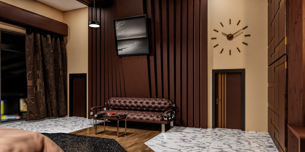 CGI interior featuring fine art landscape print on the wall
