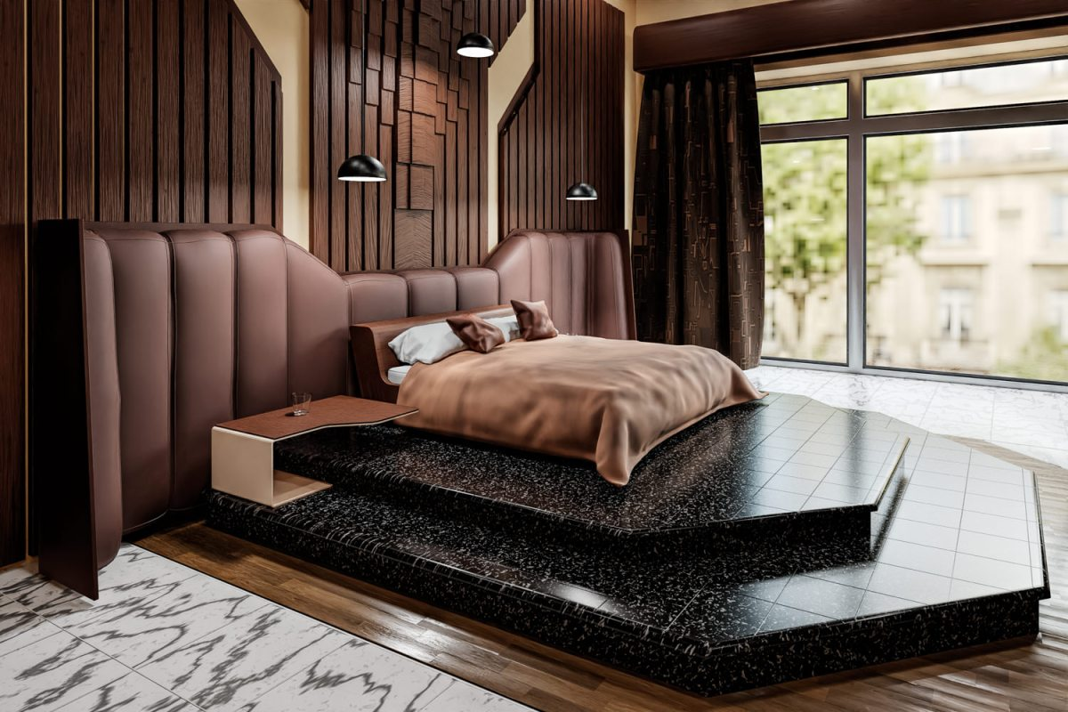 CGI Bedroom towards window daytime