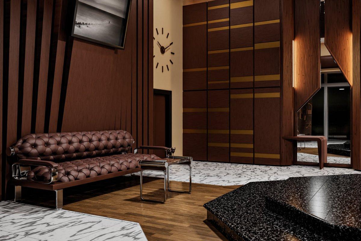 CGI Interior Visualisation - Bedroom sofa and mirror