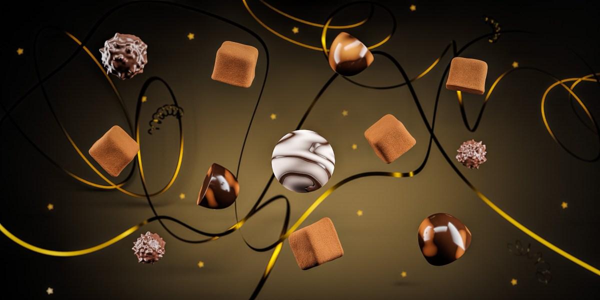 Flying Chocolates CGI festive banner