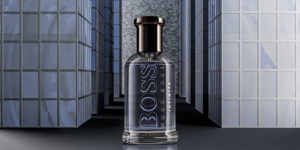 Still life photography of Boss fragrance product with CGI background