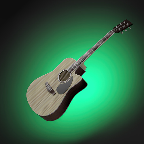 CGI Acoustic Guitar floating on green background