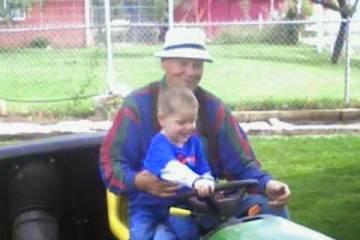 Dad on lawn mower