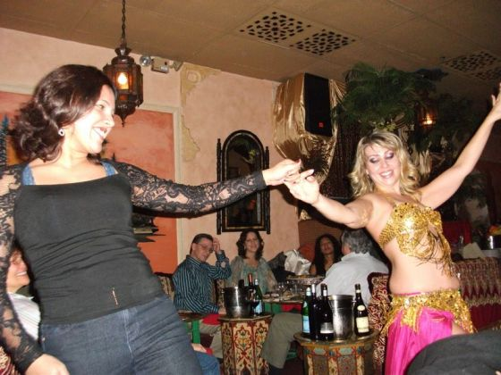 Heidi dancing with Gabby the belly dancer