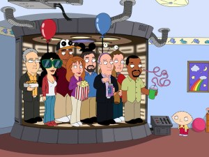 """Stewie builds a transporter and beams the entire cast of Star Trek: The Next Generation to his bedroom so they can spend a fun-filled day together in Quahog in the """"Not All Dogs Go To Heaven"""" episode of FAMILY GUY airing Sunday, March 29 (9:00-9:30 PM ET/PT) on FOX."""
