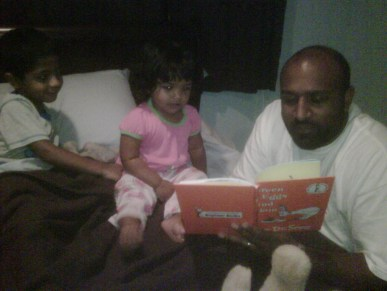 """Uncle Robbie reads """"Green Eggs & Ham"""" to the kids at bedtime"""