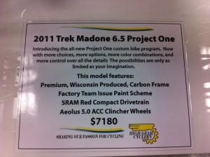 2011 Trek Madone 6.5 Project One specs