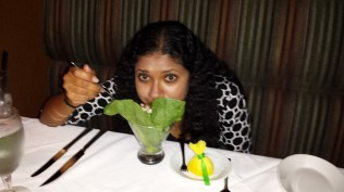 """My wife playing coy with her """"crabitni"""" appetizer"""