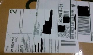 Adam shipping label