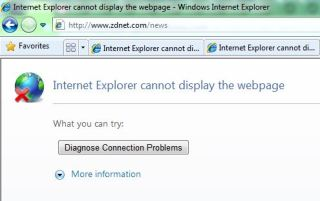 IE8 trying to reach zdnet