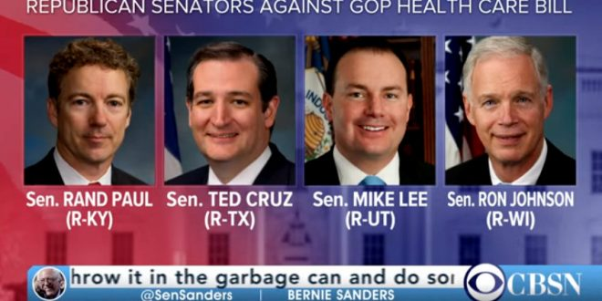Image result for four gop senators opposed to senate draft of repeal and replace