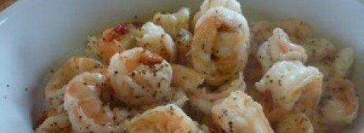 Sauteed shrimp with baby potatoes.