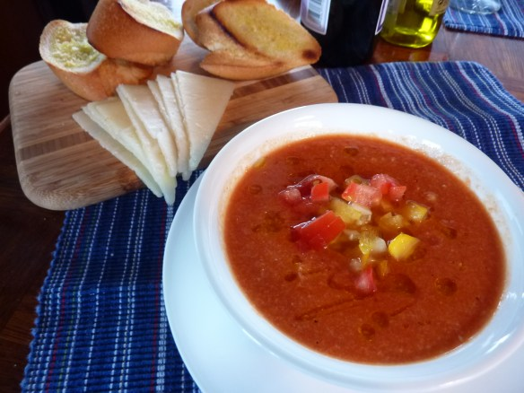 Gazpacho. Perfect for a hot summer day, this cold tomato soup is delicious with good bread and cheese.   joeshealthymeals.com