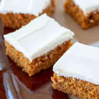 pumpkin bars on a serving dish.