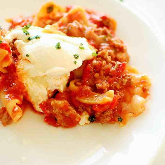 Plated 45 minute lasagna. | joeshealthymeals.com