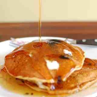 Whole grain pancake recipe. Mix up a big batch today. | joeshealthymeals.com