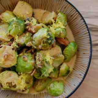 Brussels sprouts in sherried cream sauce