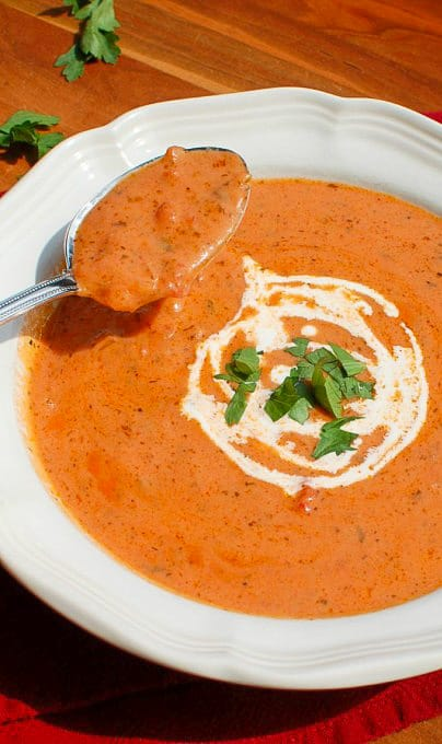 Homemade tomato bisque. Wonderful tasting soup you will want to make often! | joeshealthymeals.com