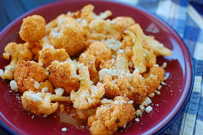 Roasted Cauliflower in Buffalo Sauce - be sure to check out this easy recipe. You will love it!   joeshealthymeals.com