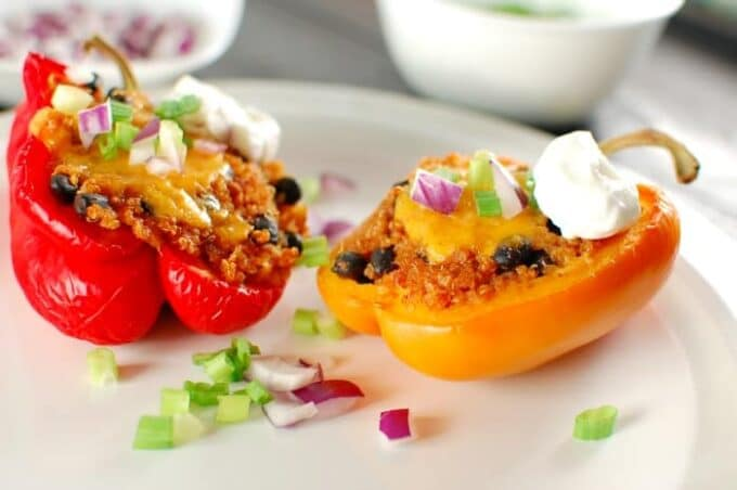 Quinoa Stuffed Bell Peppers. Easy and delicious main dish. Try this recipe today!   joeshealthymeals.com