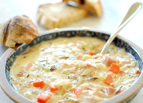 Creamy ham wild rice soup.