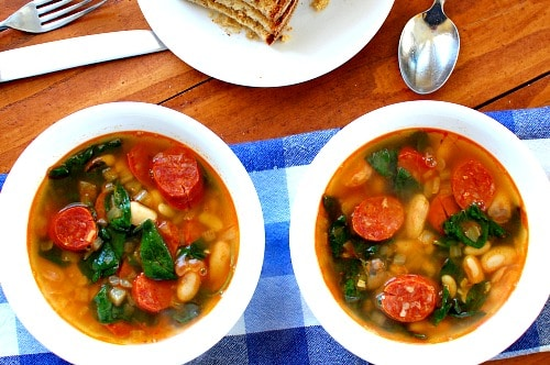 Spanish chorizo white bean soup. Simple, fast recipe for making this flavorful soup. | joehealthymeals.com