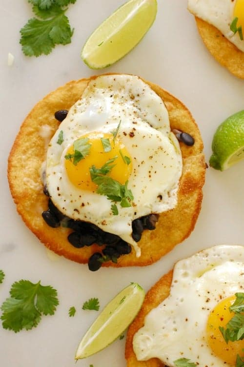 Black bean and egg tostada. Fix this easy recipe for breakfast, lunch, or dinner!   joeshealthymeals.com