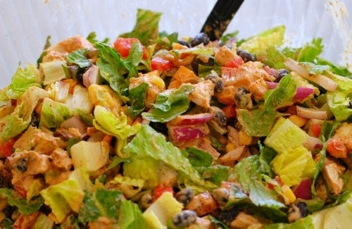 Tex-Mex chicken salad. Delicious, easy rotisserie chicken salad you can make in a snap! It is made with a copycat Newman's Own Southwest Dressing recipe that has less than 50 calories per serving! | joeshealthymeals.com