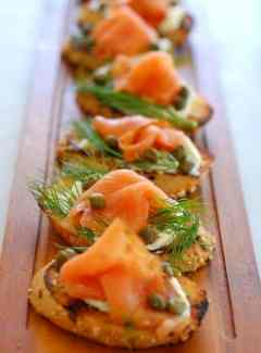smoked salmon dill and cream cheese on toasted baguette.