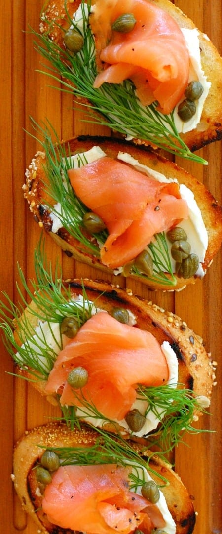 Smoked salmon dill and capers appetizer on toasted bread