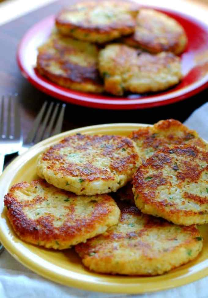 Low carb cauliflower patties on a plate