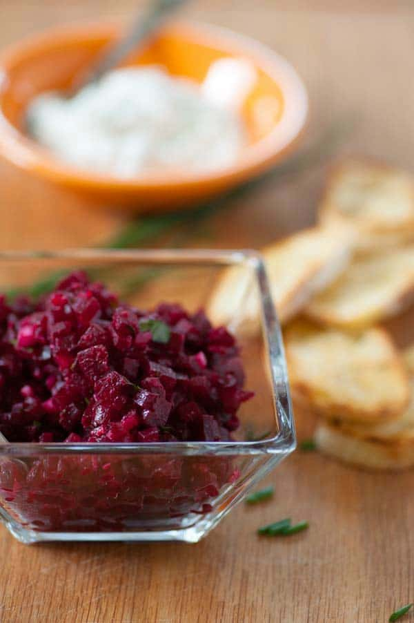 Roasted beet tartare recipe. Tasty snack or appetizer using roasted beets accented with creamy blue cheese. | joeshealthymeals.com