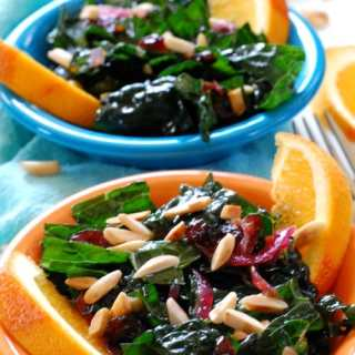 Kale Salad with Cranberry Orange Dressing