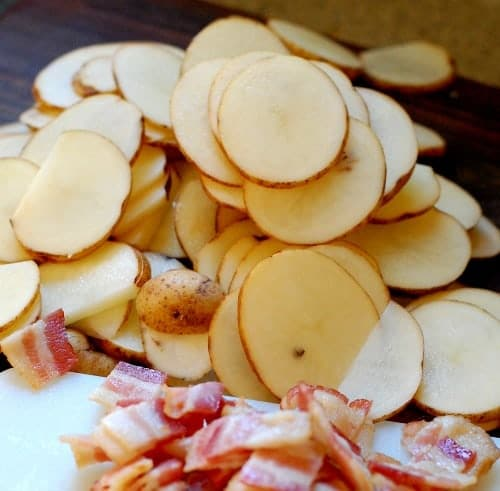 Bacon Swiss chard Potatoes au gratin. | joeshealthymeals.com