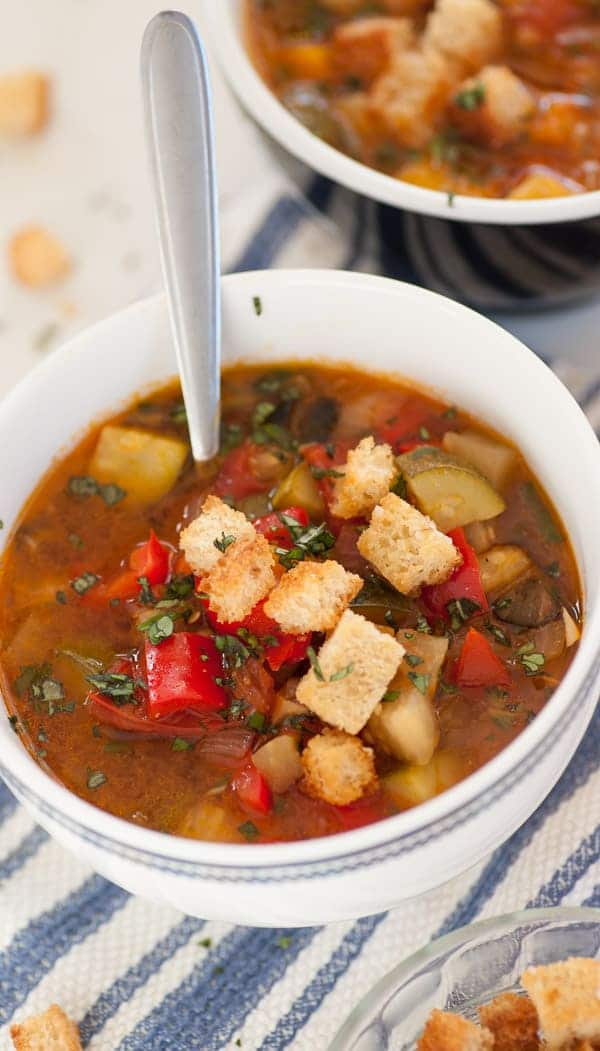 Fresh vegetable Provencal soup. Use up some of your late summer veggies by making this delicious, easy to make soup. | joeshealthymeals.com