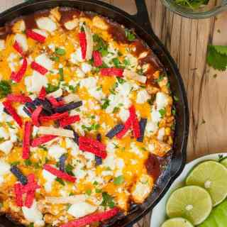 Easy chicken enchilada skillet.