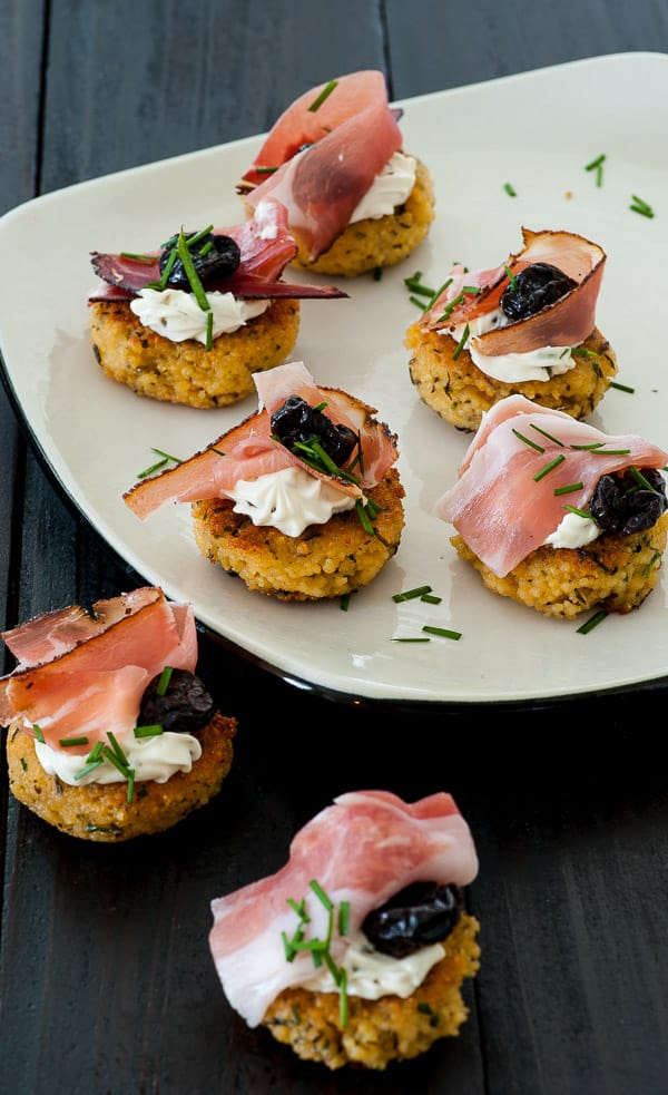 Couscous patties with smoked prosciutto. Great appetizer recipe. | joeshealthymeals.com