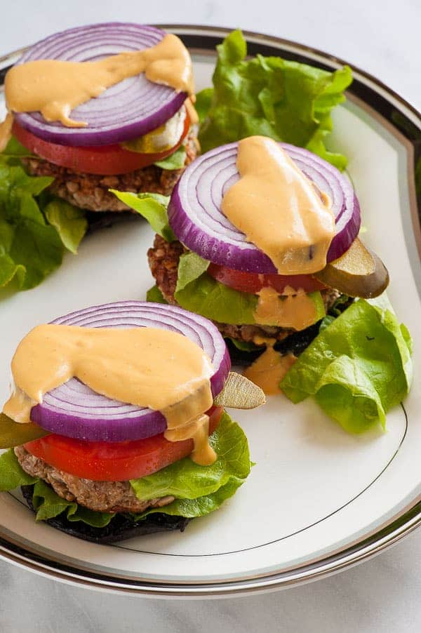Nutty oat burgers on portobello caps. Easy vegetarian burger sure to satisfy. | joeshealthymeals.com