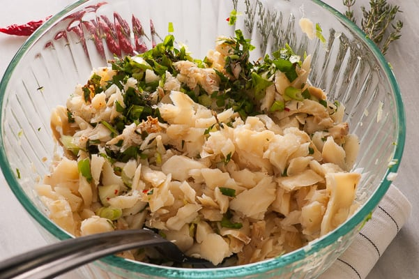 Salted codfish with herbs. Tasty appetizer everyone will love. | joeshealthymeals.com