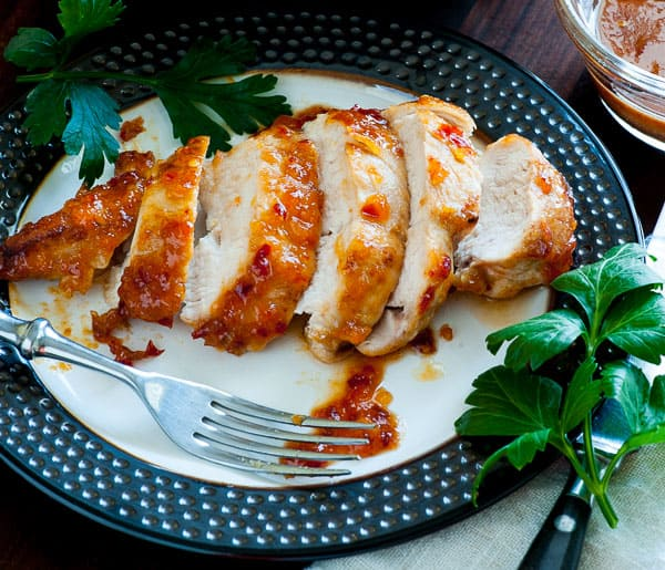 Apricot-chili glazed chicken breasts. Delightfully spicy and easy to prepare recipe for chicken breasts. | joeshealthymeals.com
