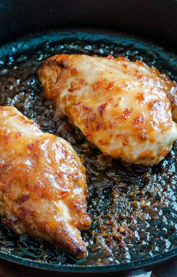 Apricot-chili sauce glazed chicken breast. Delightfully spicy and easy to prepare recipe for chicken breasts.   joeshealthymeals.com