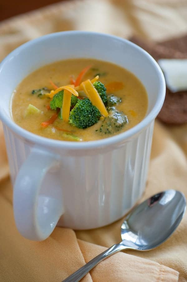 Vegetarian broccoli sharp cheddar cheese soup. Delicious and creamy recipe for this satisfying soup. Like Panera Bread! | joeshealthymeals.com