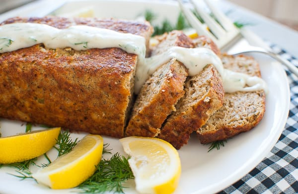 Perfect salmon loaf with dill white sauce. Delicious healthy salmon loaf recipe full of vitamins and protein. It's a very economical dish to make. | joeshealthymeals.com