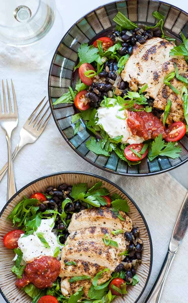 Chipotle burrito bowl. This is a low calorie recipe for a Chipotle style burrito bowl using lower calorie ingredients but getting a great tasting burrito bowl.   joeshealthymeals.com