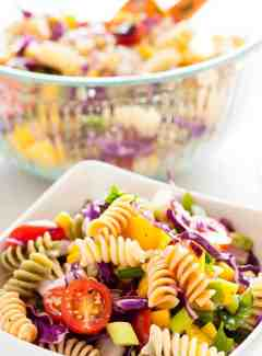 Cold mango pasta salad. Refreshing and simple, this is a great summertime salad to have with any meal. | joeshealthymeals.com