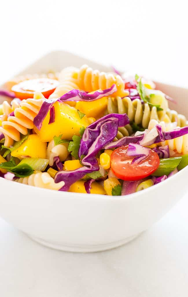 Mango pasta salad. Refreshing and simple, this is a great summertime salad to have with any meal. | joeshealthymeals.com