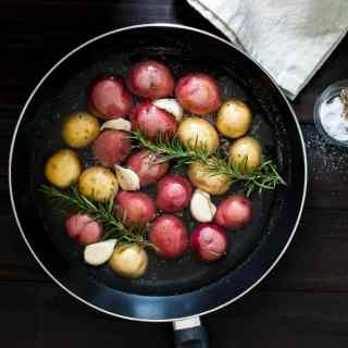 Pan Braised Baby Potatoes with Rosemary and Garlic